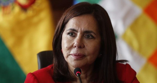 Bolivia's Foreign Minister Karen Longaric attends a press conference introducing the newly appointed ambassador to the United States, at the Foreign Ministry in La Paz, Bolivia, Thursday, Nov. 28, 2019. (AP Photo)