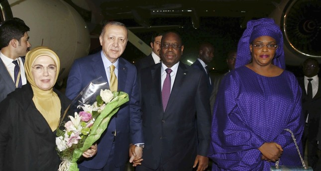 President Recep Tayyip Erdoğan and first lady Emine Erdoğan were welcomed by Senegalese President Macky Sall and Senegalese first lady Marieme Faye Sall, in Dakar, late Wednesday.