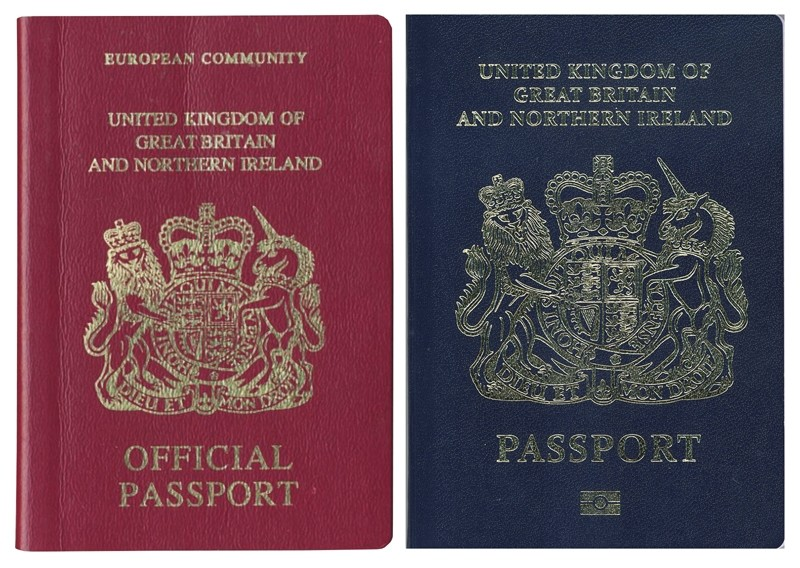 A combination image of two handout pictures released on December 22, 2017 by the UK passport office shows a burgundy (L) and blue United Kingdom passport. (AFP Photo)