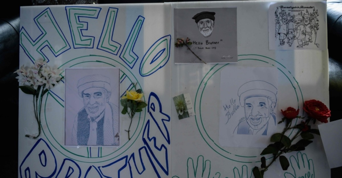 Placards that read ,Hello brother, are seen in Christchurch on March 22, 2019 at the home of Haji Mohammed Daoud Nabi (AFP Photo)