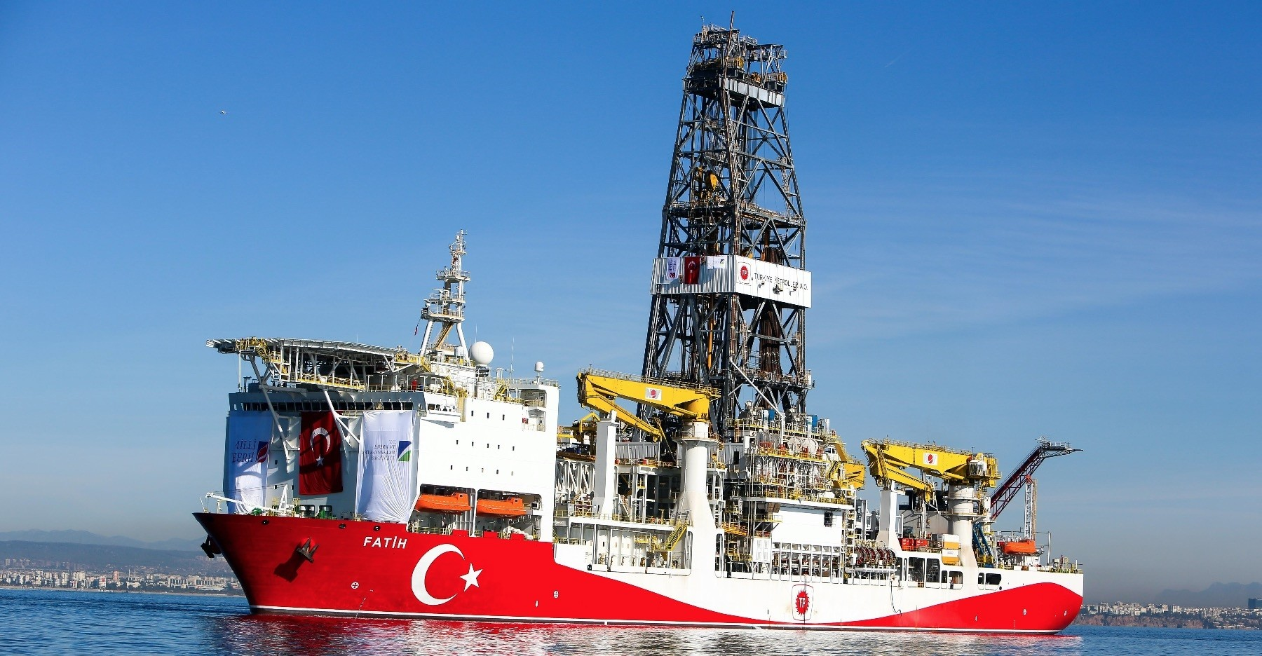 Turkeyu2019s first drilling vessel Fatih arrived near the city of Antalya in June 2018 to start the countryu2019s first drilling project in the Mediterranean.
