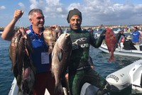 Turkish athlete wins spearfishing award for catching 7-kilo rubberlip grunt off Portugal coast