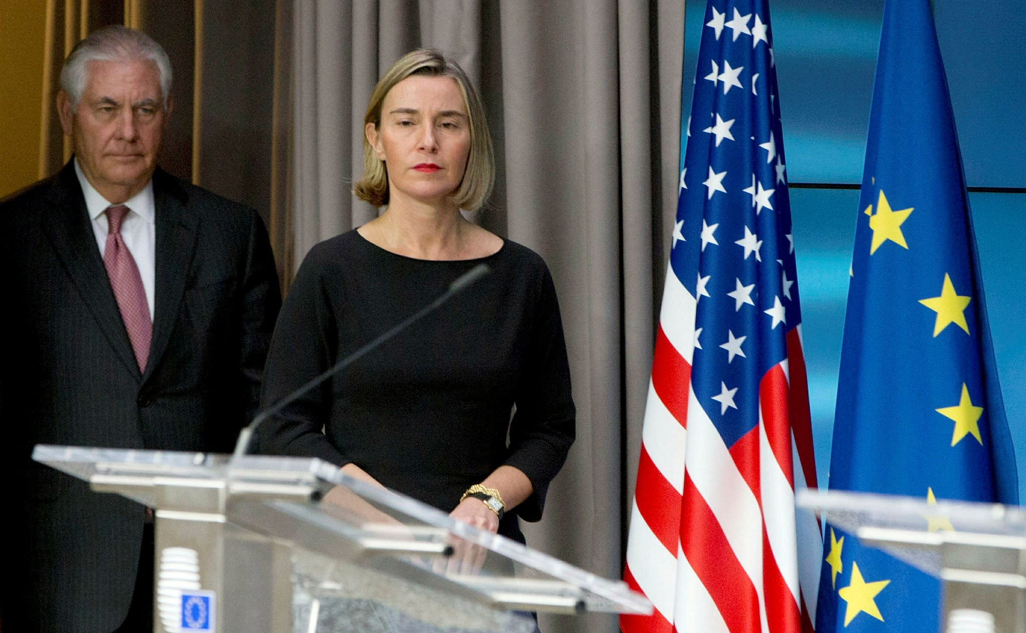 U.S. Secretary of State Tillerson and EU foreign policy chief Federica Mogherini address a joint news conference at the European Council in Brussels, December 5, 2017. (REUTERS Photo)