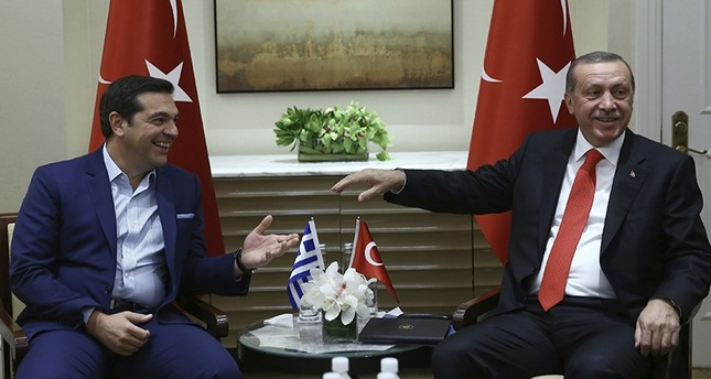 أردوغان مع رئيس الوزراء اليوناني، 2016 (AP)
