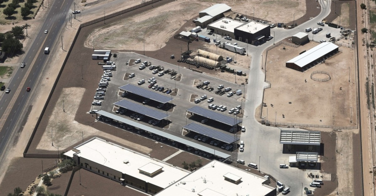 An aerial view of the U.S. Border Patrol facility where attorneys reported that detained migrant children had been held in disturbing conditions on June 28, 2019 in Clint, Texas (AFP Photo)