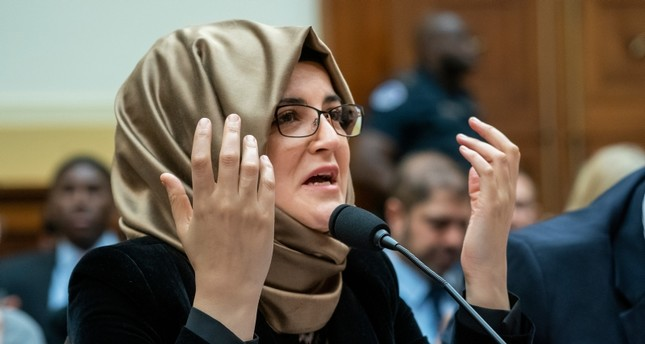 Hatice Cengiz, the fiancée of slain journalist Jamal Khashoggi, speaks at the House Foreign Affairs Subcommittee on Africa, Global Health, Global Human Rights, and International Organizations AP Photo