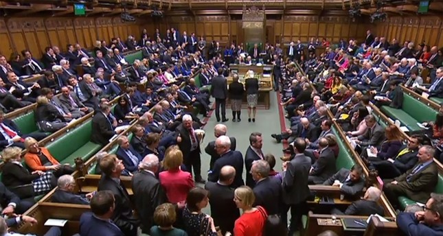 A video grab from footage broadcast by the U.K. Parliament's Parliamentary Recording Unit (PRU) shows the scene inside the House of Commons in London on Feb. 27, 2019. (AFP Photo)