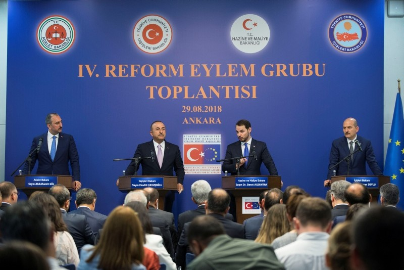 This file photo dated Aug. 30, 2018, shows Turkish justice, foreign, treasury & finance and interior minister holding a press conference after the Fourth Reform Action Group meeting in Ankara. (AA Photo)