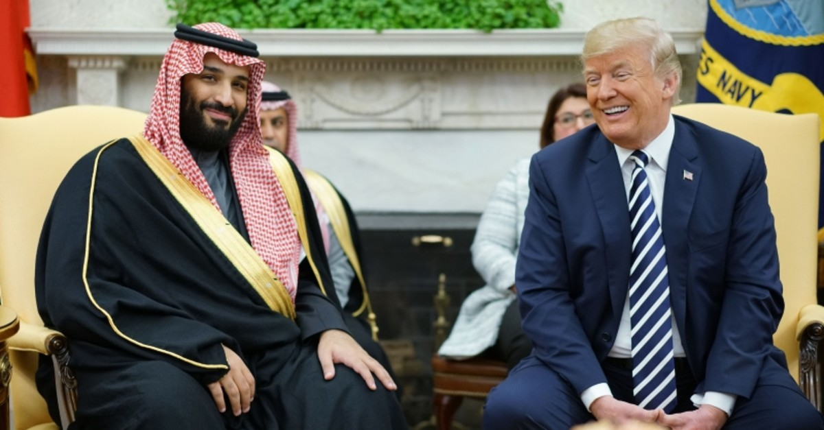 In this file photo taken on March 20, 2018 US President Donald Trump (R) meets with Saudi Arabia's Crown Prince M. bin Salman in the Oval Office of the White House in Washington, DC. (AFP Photo)