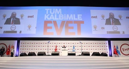 pThe ruling Justice and Development (AK Party) Party launched its campaign for the April 16 constitutional reform referendum with a colorful ceremony in the capital Ankara, with the attendance of...