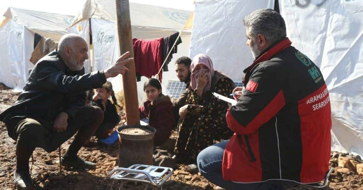 Officials from the Humanitarian Relief Foundation (?HH) conducted health checks for displaced Syrians who fled from the regime attacks on Idlib to refugee camps in northern areas near the Turkish border, Jan. 2, 2020. AA