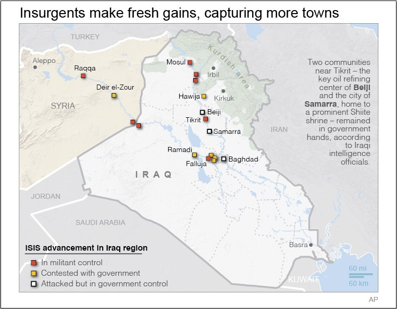 Areas threatened by ISIS in Iraq