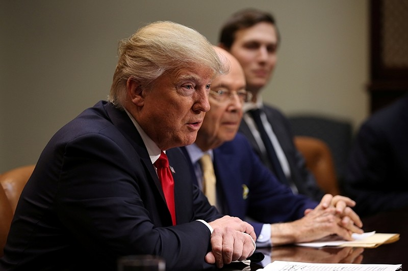 Trump, Wilbur Ross, Trump's pick for Commerce Secretary (C) and Senior advisor and Trump's son-in-law Jared Kushner attends a meeting with congressional leaders. (REUTERS Photo)