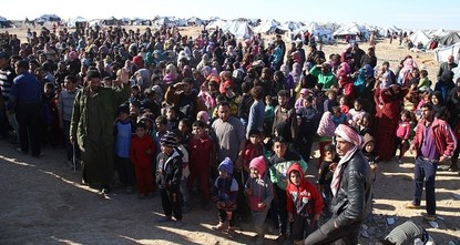 pNearly 50,000 people, mostly women and children, are stranded at Syria's southern border with Jordan, an increasingly unsafe area where airstrikes were reported in the last few days, the United...
