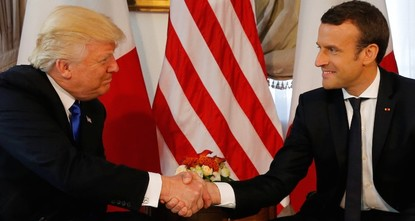 pFrench President Emmanuel Macron and U.S. President Donald Trump met for the first time Thursday, but the pair seemed to have a hard time letting go during their initial handshake./p  pEach man...