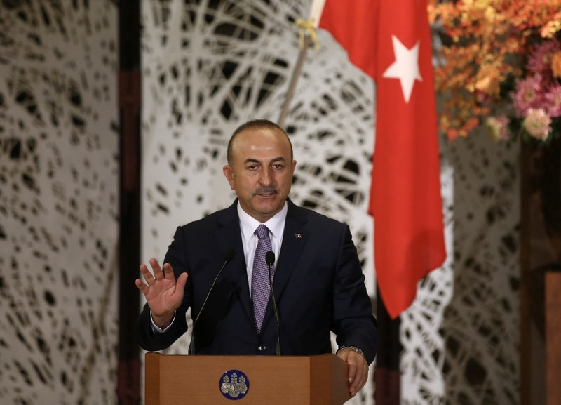 Turkish Foreign Minister Mevlu00fct u00c7avuu015fou011flu speaks in a joint press conference with his Japanese counterpart Taro Kono in Tokyo, Japan, Nov. 05, 2018. (AA Photo)