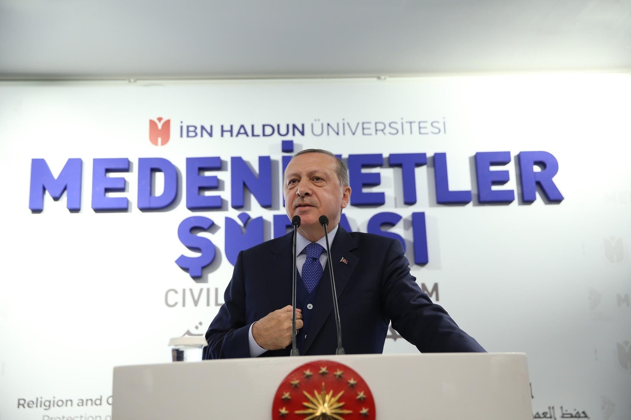 Erdou011fan speaks at the Civilizations Forum at Ibn Haldun University in Istanbul on Oct. 21, 2017. (AAPhoto)
