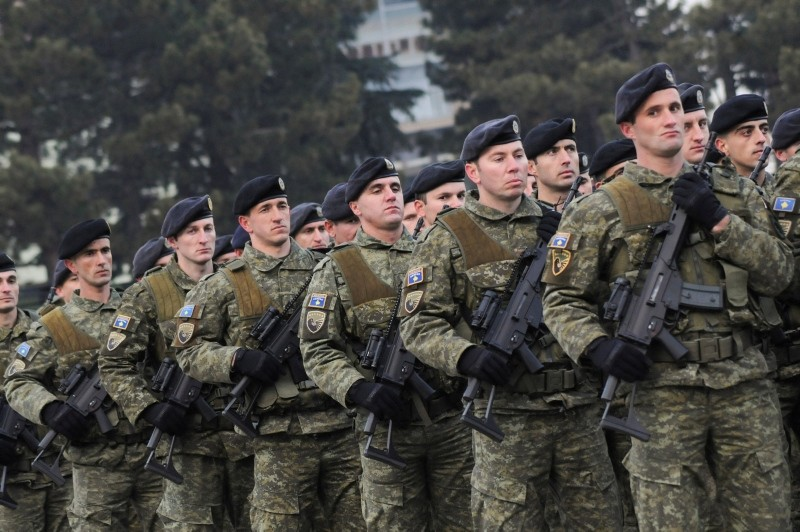 Members of Kosovo's security forces parade a day before parliament's vote on whether to form a national army in Pristina, Kosovo, Dec. 13, 2018. (Reuters Photo)