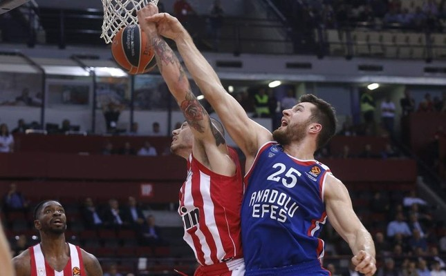 Anadolu Efes forward Alec Peters R vies for the ball against his Olympiacos opponent during the Euroleague Week 7 match at the Peace and Friendship Stadium, Piraeus, Greece, Nov. 7, 2019. AA Photo