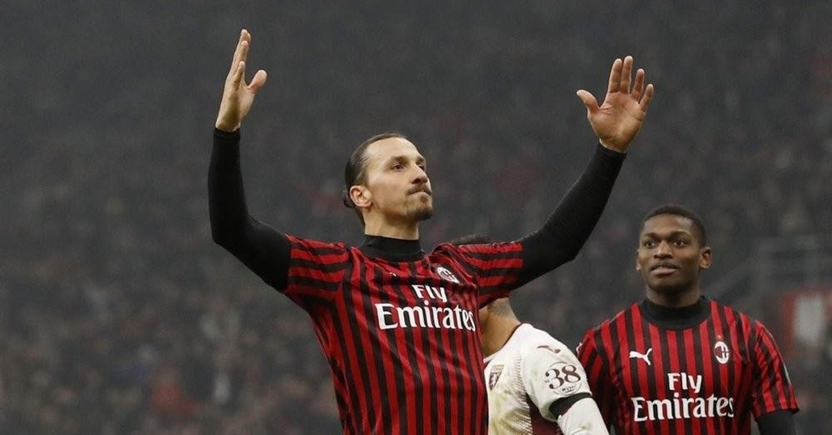 Ibrahimovic celebrates after scoring his side's fourth goal during a match against Torino in Milan, Jan. 28, 2020. (AP Photo)