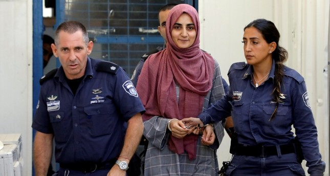 Turkish citizen, Ebru Özkan, who was arrested at an Israeli airport last month, is being brought to an Israeli military court, near Migdal, Israel July 8, 2018. (REUTERS Photo)