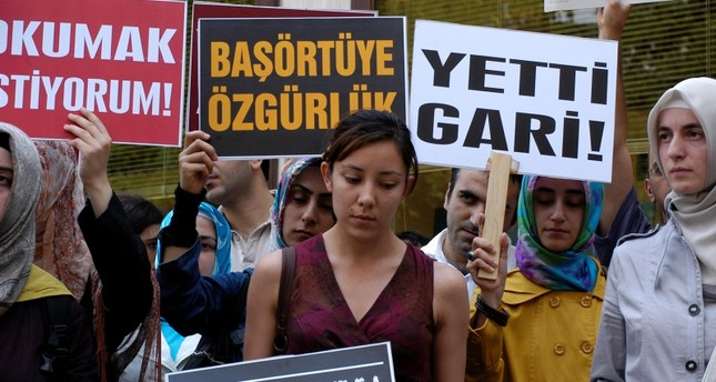 Demonstrators protest the ban on headscarves in Turkey in June, 2008. (SABAH Photo)