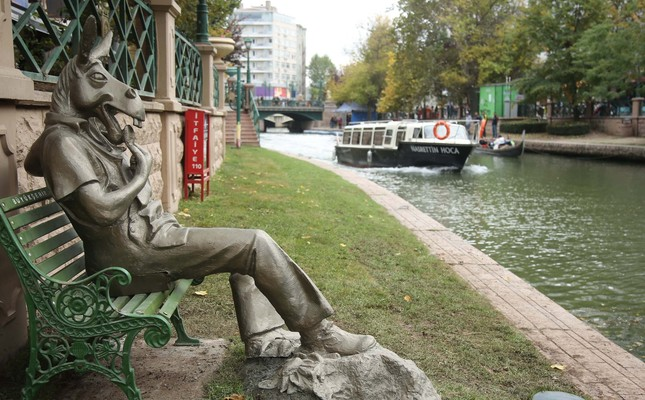 The Statue of a donkey eating roasted sunflower seeds by River Porsuk as a message against littering has divided the locals.