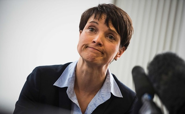 This file photo taken on February 22, 2016 shows Frauke Petry, leader of Germany's populist AfD (Alternative for Germany) party, during a press conference in Berlin. (AFP Photo)