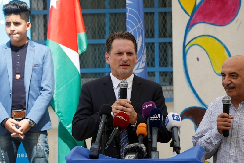 UNRWA Commissioner-General Pierre Kraehenbuehl speaks during the official ceremony to return to school at one of the UNRWA schools at a Palestinian refugee camp al Wehdat, in Amman, Jordan, September 2, 2018. (Reuters Photo)