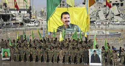 pPKK female terrorists Thursday celebrated the victory against Daesh in Raqqa, Syria under the portrait of PKK leader Abdullah Öcalan, according to Ronahi TV, a Kurdish TV channel media...