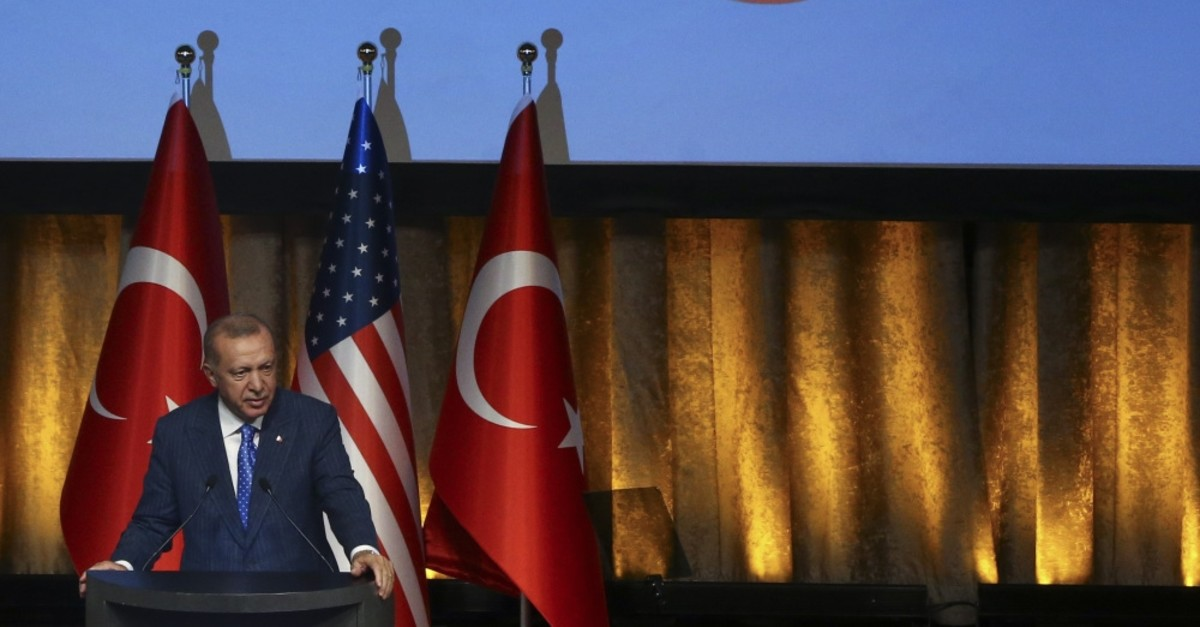 Erdou011fan speaks at an event organized by the Turkish American National Steering Committee (TASC) and the Presidency for Turks Abroad and Related Communities (YTB) in New York, where he is due to join the U.N. General Assembly, Sept. 23, 2019.