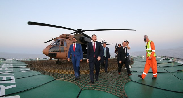 Energy and Natural Resources Minister Berat Albayrak F visits the Barbaros Hayrettin Paşa seismic survey vessel together with Turkish Cypriot Economy and Energy Minister Sunat Atun L.