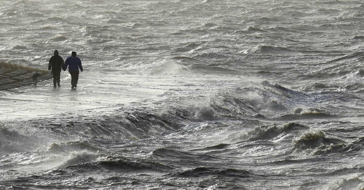 High waters on a stormy day in Germany's Schleswig-Holstein (DPA Photo)