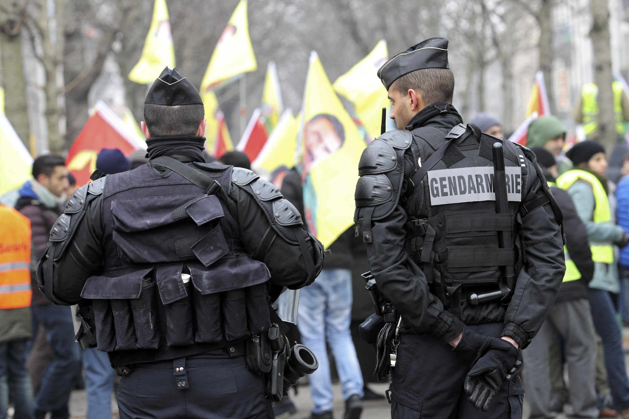 French gendarmes stand guard during a demonstration in support of the jailed leader of the PKK terror group u00d6calan in Strasbourg, France, February 11, 2017.  (REUTERS Photo)