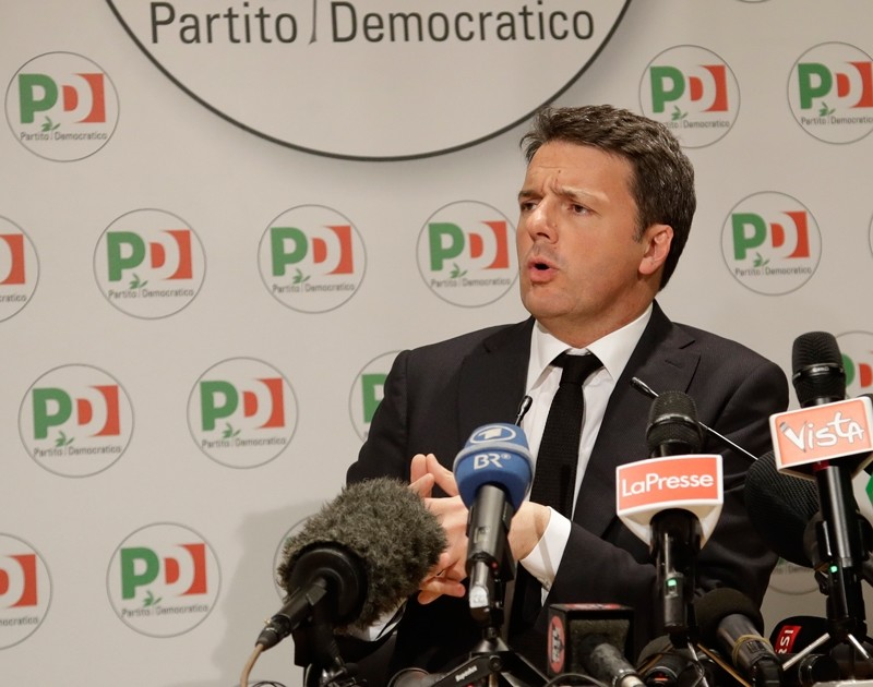 Democratic Party leader Matteo Renzi holds a press conference on the election results, in Rome (AP Photo)