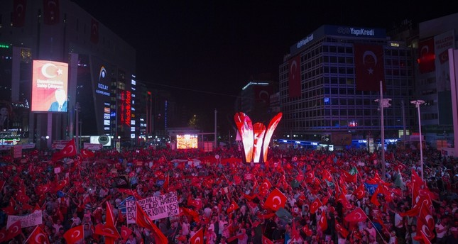 The crowd gathered at Ankara's Kızılay Square for democracy rally, a nightly event since July 15 coup attempt.