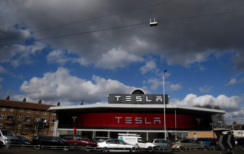A Tesla car showroom is seen in west London, Britain.