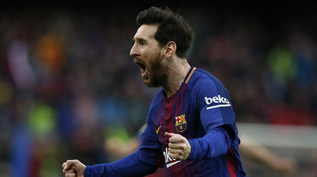 FC Barcelona's Lionel Messi reacts after scoring during the Spanish La Liga soccer match between FC Barcelona and Atletico Madrid at the Camp Nou stadium in Barcelona, Spain, Sunday, March 4, 2018. (Reuters Photo)