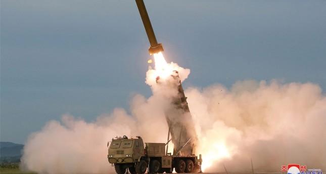 N. Korea unveils 'super-large' multiple rocket launcher