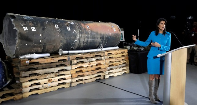 U.S. Ambassador to the United Nations Nikki Haley briefs the media in front of remains of Iranian Qiam ballistic missile provided by Pentagon at Joint Base Anacostia-Bolling in Washington, U.S., December 14, 2017. (REUTERS Photo)
