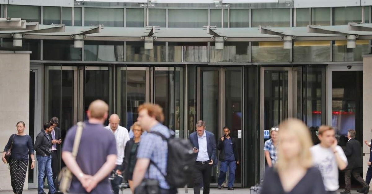 An entrance to the headquarters of the publicly funded BBC, London, July 19, 2017. (AP Photo)