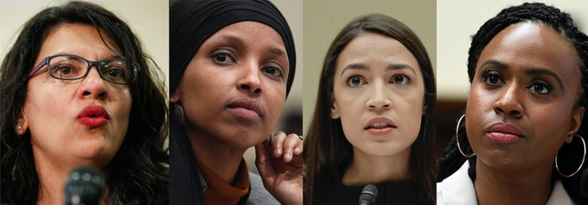 From left to right, Rep. Rashida Tlaib, D-Mich., Rep. Ilhan Omar, D-Minn., Rep. Alexandria Ocasio-Cortez, D-NY. and Rep. Ayanna Pressley, D-Mass.