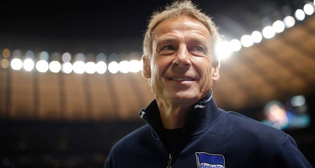 Klinsmann arrives at the pitch for a Bundesliga match against FC Schalke 04 in Berlin, Jan. 31, 2020. AFP Photo