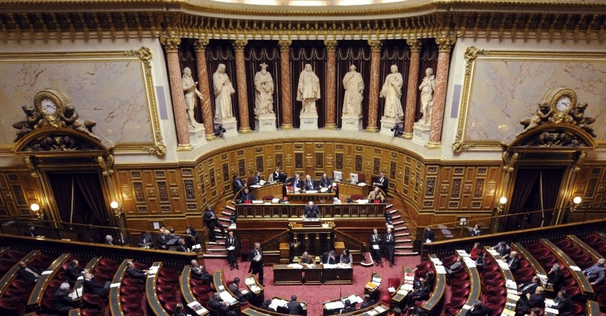 A French Senate session for a bill criminalizing the denial of genocides, including the Armenian genocide, Jan. 23, 2012.