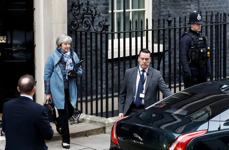 Britain's Prime Minister Theresa May leaves 10 Downing Street, as she faces a vote on her Brexit 'plan B', in London, Britain, Jan. 29, 2019. (Reuters Photo)