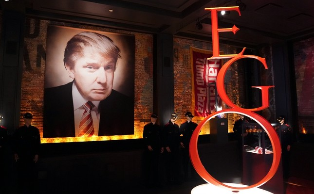 """Pieces of memorabilia are pictured in artist-provocateur Andres Serrano's take on U.S. President Donald Trump with a new exhibit called """"The Game, All Things Trump"""" in New York, April 25, 2019."""