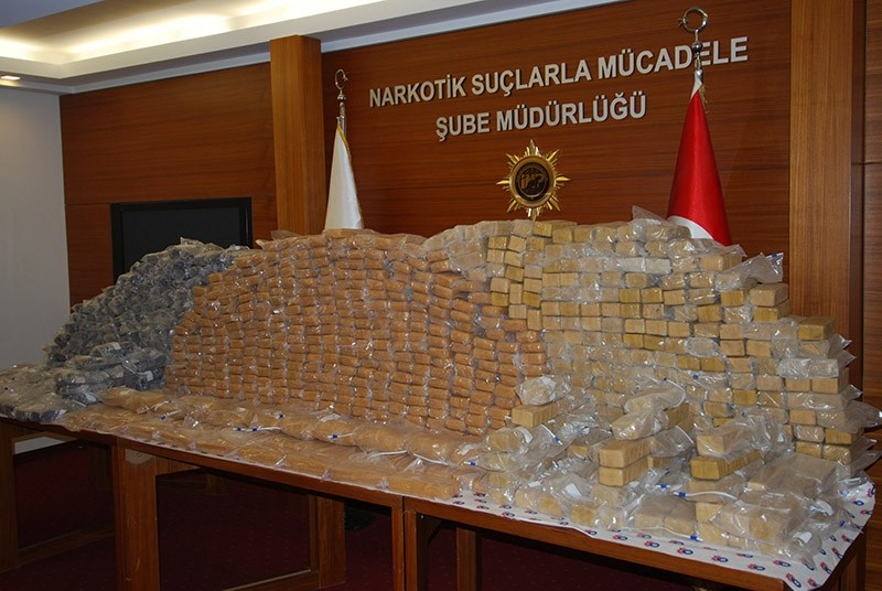 Turkish narcotic police presents high quantity of hashish seized during operations. (File Photo)