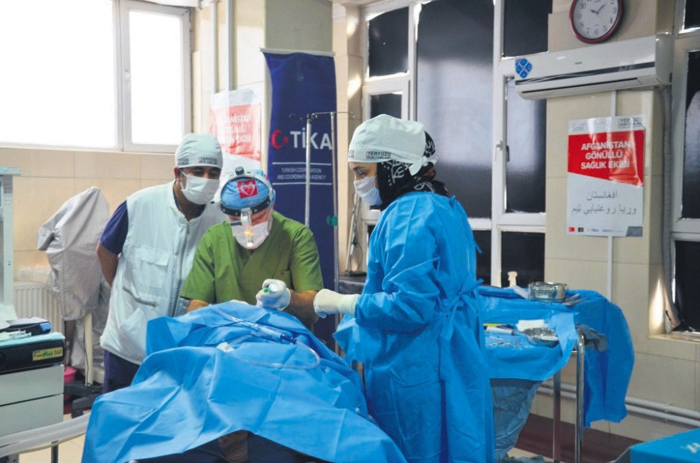 Turkish doctors perform a surgery at a hospital in Kabul, Afghanistan.