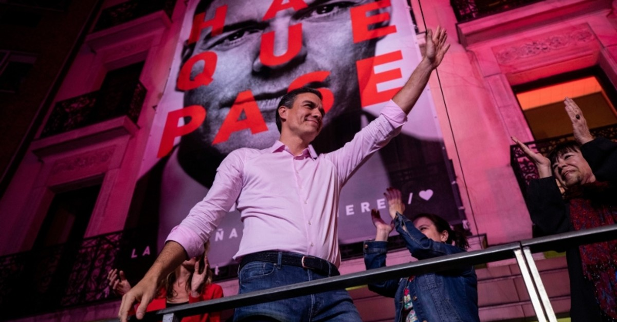 Spain's Prime Minister and Socialist Party leader Pedro Sanchez gestures to supporters outside the party headquarters following the general election in Madrid, Spain, Sunday, April 28, 2019. (AP Photo)