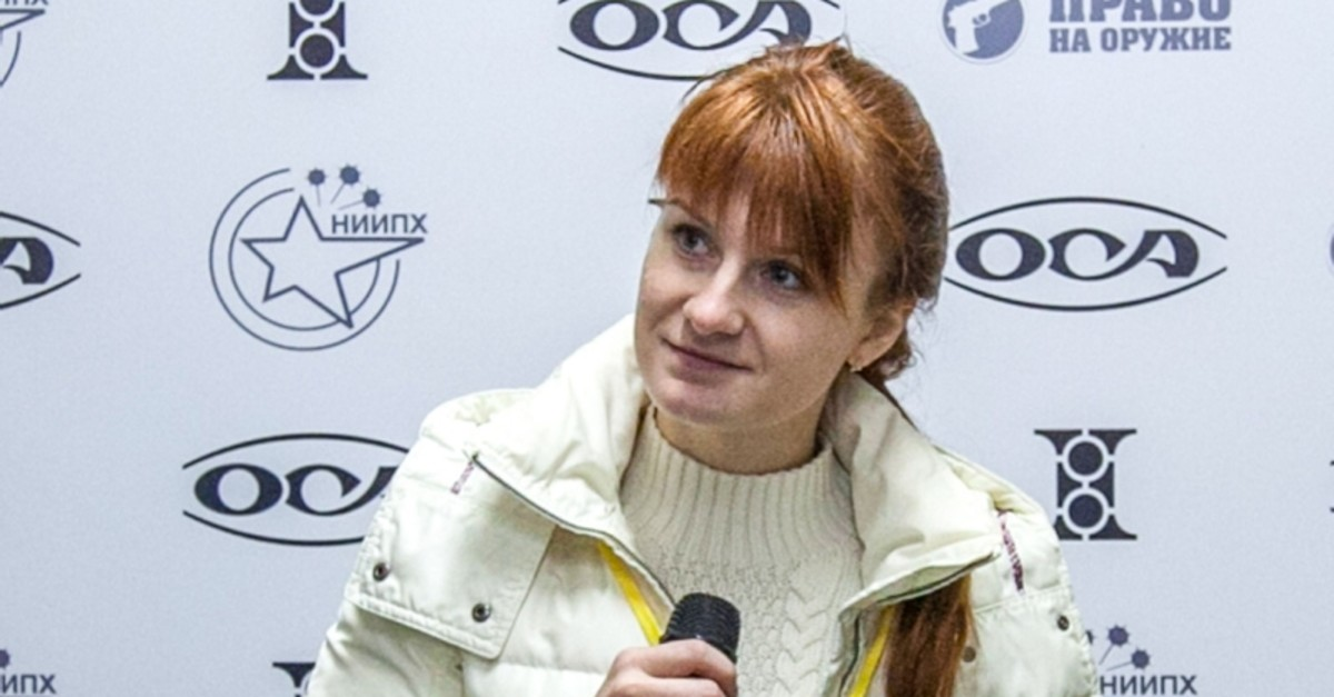 In this file photo taken on October 8, 2013, Maria Butina, leader of a pro-gun organization, speaks during a press conference in Moscow.  (AFP Photo)